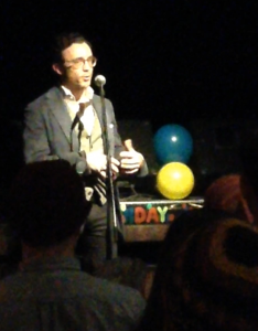 It was our second birthday, so I made the audience all blow up balloons