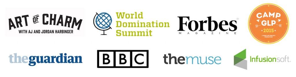 8 logos where Marsha was featred
