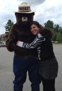 Marsha hugging a bear