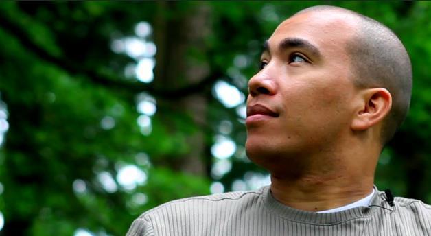 a man looking at something