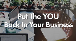 At the background a laptop and a chair and on the front a text Put You Back in Business
