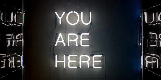 You are here glowing sign