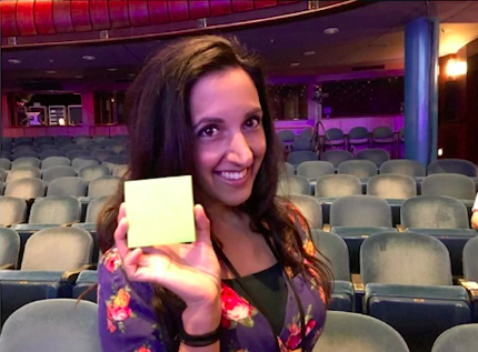 Woman showing her Sticky Note of I Don't Have My iSht Together Either tread