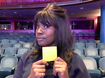 Woman posing with her Sticky Note of I Don't Have My iSht Together Either tread