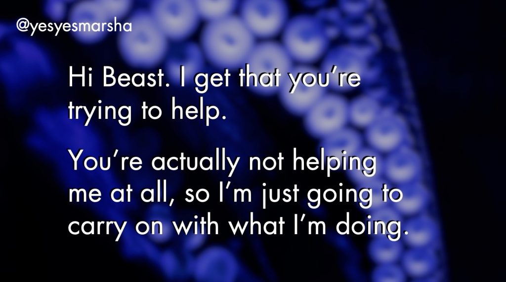 Yes Yes Marsha's script for talking to your Beast (TJX Total Rewards Summit 2020)