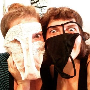 Example of storytelling- Selfie of Marsha and a woman wearing underwear on their faces